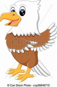 Illustration of cute eagle cartoon.