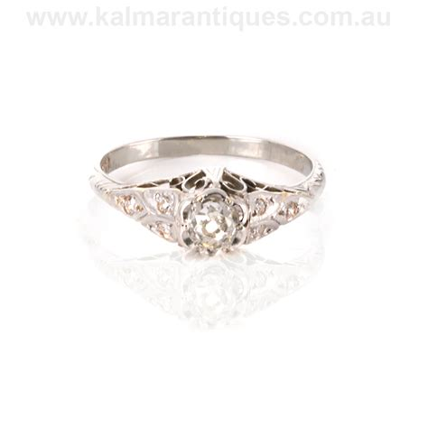 gold deco engagement rings 18ct white gold deco engagement ring