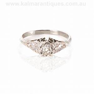 18ct white gold art deco diamond engagement ring With wedding rings art deco