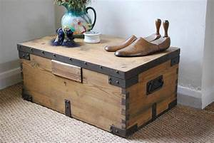 vintage rustic pine box chest trunk coffee table with With metal chest coffee table