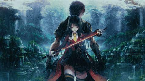 anime girl boy couple fighter