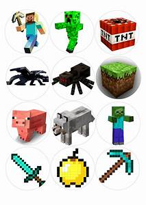 Minecraft 1 sheet x 12 Cupcake toppers for edible Print ...