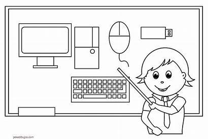 Computer Coloring Parts Dibujos Sheet Clipart Colorear