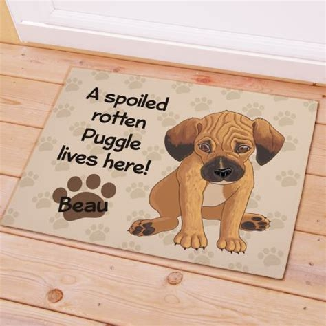 Personalized Puggle Dog Doormat Spoiled Rotten Puggle