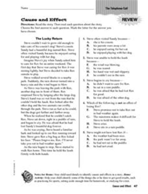 Cause And Effect The Telephone Call Worksheet For 5th  6th Grade  Lesson Planet