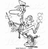 Unicycle Outline Cartoon Male Tricks Coloring Entertainer Doing Toonaday sketch template
