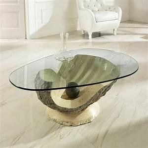 Couchtisch Glas Oval : 20 couchtische aus stein und fossilstein in modernem design ~ Orissabook.com Haus und Dekorationen