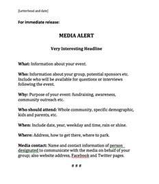 Sample Media Alert Template