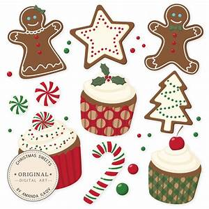 Professional Christmas Cookies and Cupcakes Clipart & Vector