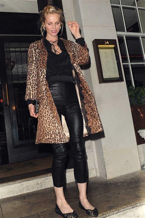 eva herzigova leaving  mayfair restaurant leather