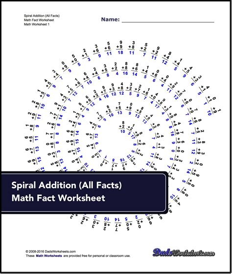 addition worksheets spiral addition facts math