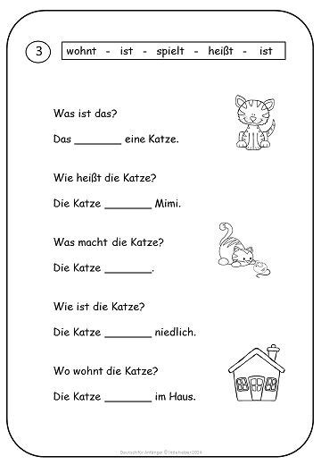 simple texts and worksheets for beginners german