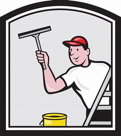 Window Cartoon Cleaner Washer Cleaning Glazenwasser Squeegee