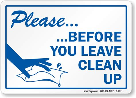 Office Kitchen Clean Up Signs by Clean Up Sign With Graphic Sku S 2371 Signs And