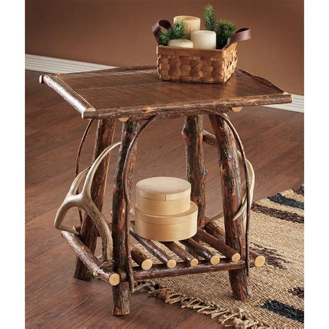 Rustic Living Room Furniture Canada by Rustic Willow End Table With Antlers 129122 Living Room