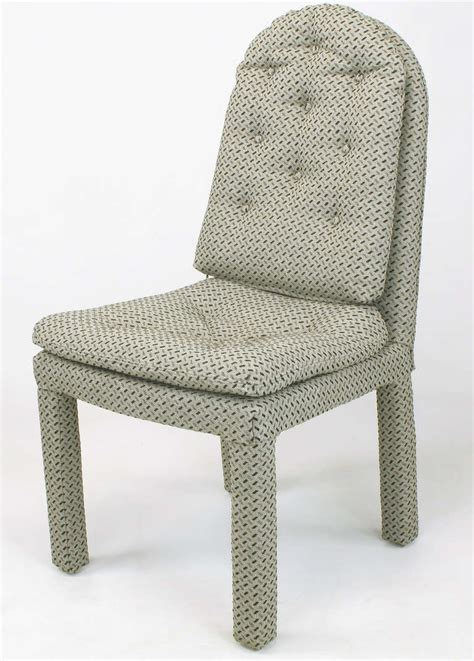 fully upholstered arch  dining chairs attr milo baughman  sale  stdibs