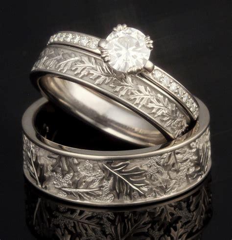 leaf and vine wedding rings