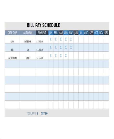 bill payment schedule template bill payment schedule template 12 free word pdf format free premium templates