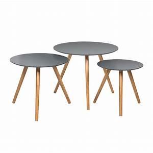 Table Ronde Grise : table basse ronde jacques grise lot de 3 koya design ~ Teatrodelosmanantiales.com Idées de Décoration