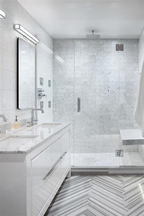 Modern White Bathroom Floor Tile by Marble Herringbone Tile Floor Cottage Bathroom