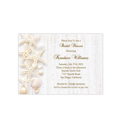 beach seashell bridal shower invitation wedding template