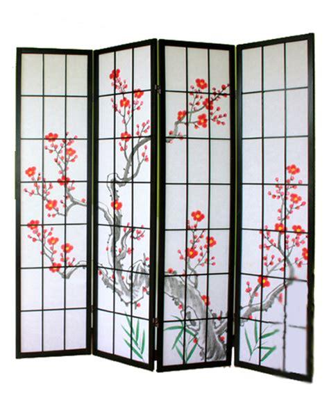 paravent bois noir avec fleurs de cerisier 4 pans