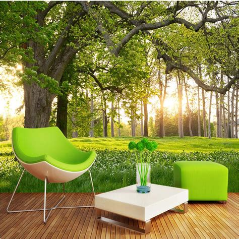 customize size mural wallpaper background trees sunny
