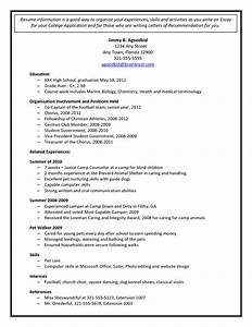 college admission resume template document sample With cv for college application