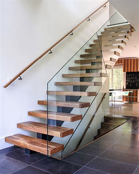 steel and wood staircase mrail modern stairs mono stringer stairs