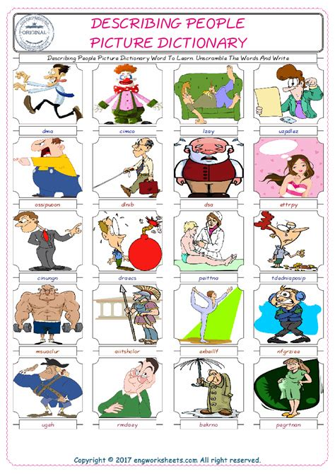describing people esl printable english vocabulary worksheets