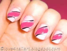 Love nailart easy pink nail art design short nails beginners