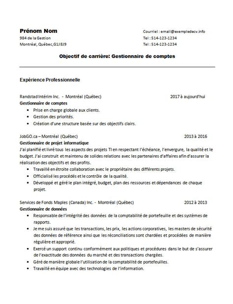 Exemple Des Cv Professionnel by Exemple De Cv D Un Ou Une Gestionnaire Exemple De Cv Info