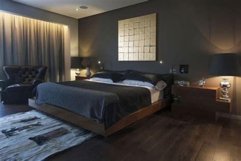 wandfarbe anthrazit im schlafzimmer und dunkle holzmoebel