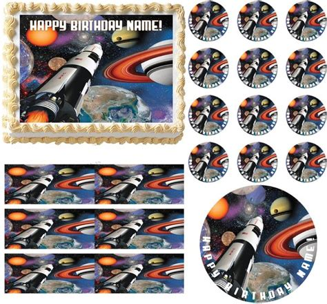 outer space rocket ship party edible cake topper image