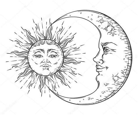 Estilo Antigo Mão Desenhada Arte Sol E Lua Crescente. Boho