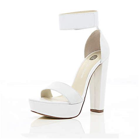 Heals Sofas by White Chunky Platform Barely There Sandals Heels Shoes