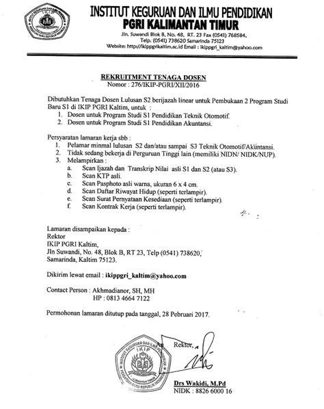 Contoh Surat Lamaran Cpns Kemenristekdikti by Lowongan Dosen Ikip Pgri Kalimantan Timur Lokernas
