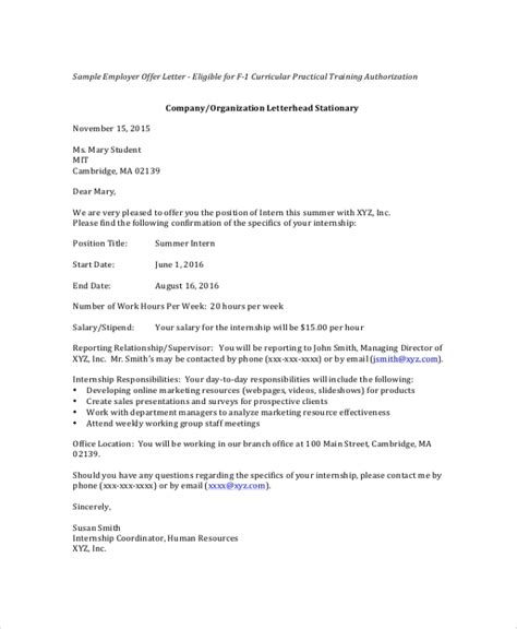 sample internship offer letters   apple pages