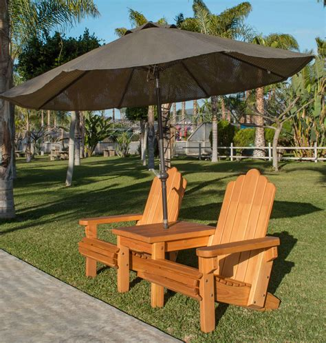 adirondack settee adirondack chairs joined by thick timbered table