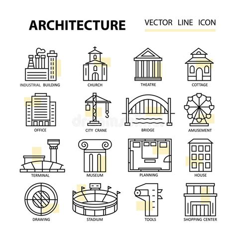set  modern linear icons  architecture elements
