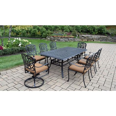 oakland living cast aluminum 9 rectangular patio