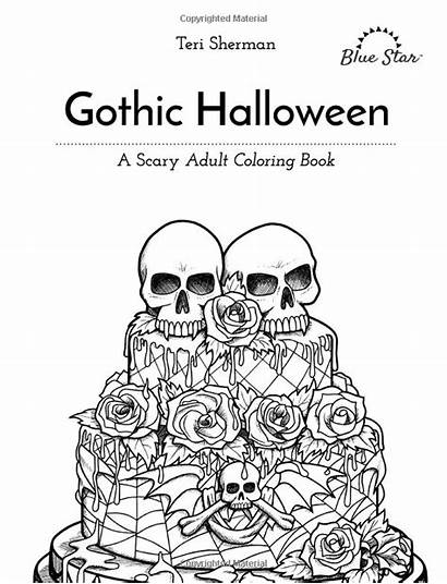 Coloring Gothic Adult Scary Halloween Books Star