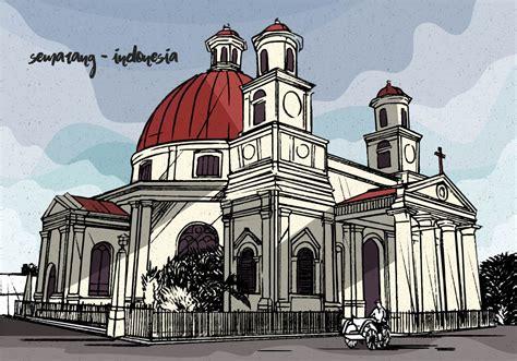 colonial vintage vector illustration  semarang indonesia