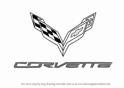 Corvette Drawing Draw Logos Step Lamborghini Outline