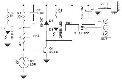 Dark Sensitive Switch Electronic Circuit Diagram