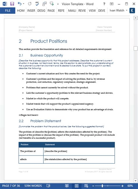 vision document template ms word