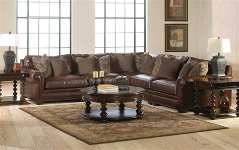 Sectional Living Room Furniture With Brown Leather Sofa