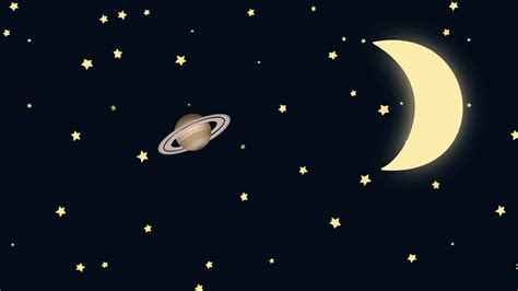 Cartoon Crescent Moon And Saturn On A Starry Night Motion