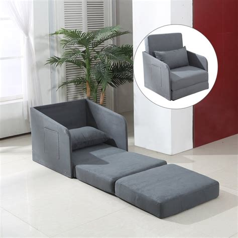 Futon Single Bed Chair by Homcom Single Chair Bed Grey Futon Cushion Lounger Set