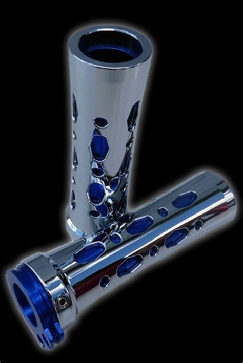 universal motorcycle grips chrome plated blue
